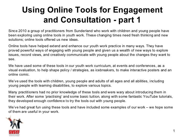 Using Online Tools for Engagement             and Consultation - part 1Since 2010 a group of practitioners from Sunderland...