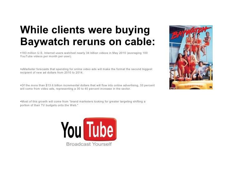 <ul><li>While clients were buying Baywatch reruns on cable: </li></ul><ul><li>183 million U.S. Internet users watched near...