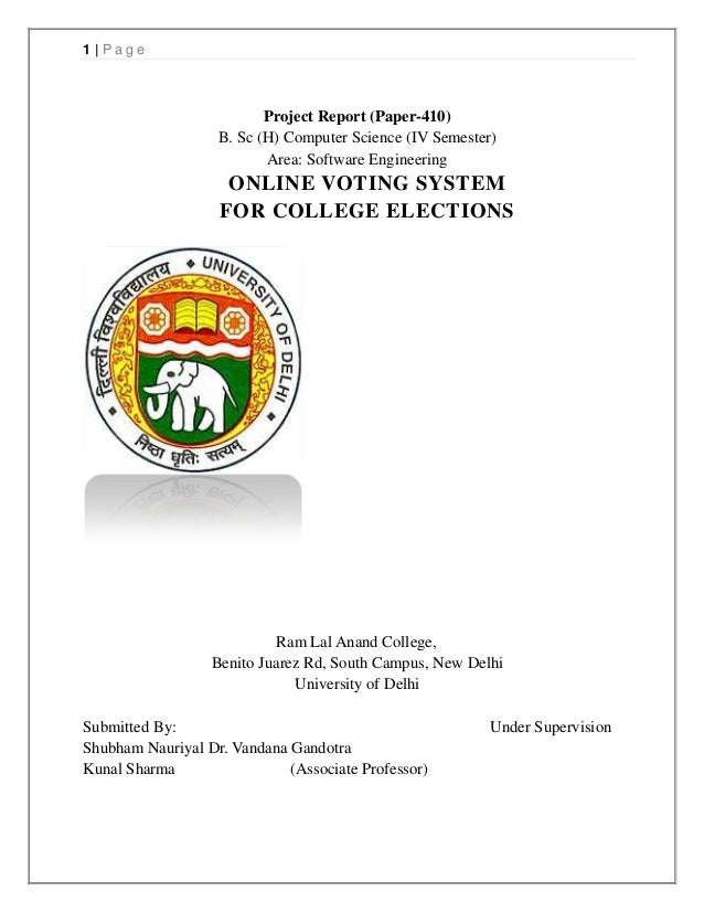 1|Page                          Project Report (Paper-410)                   B. Sc (H) Computer Science (IV Semester)     ...