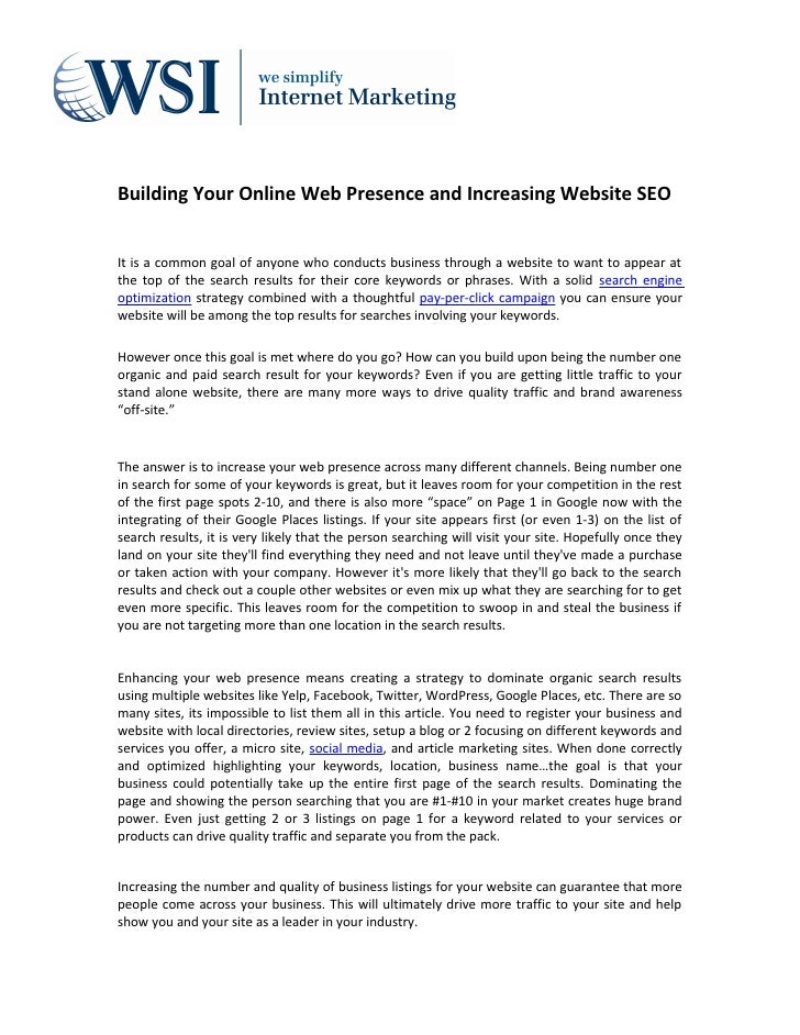 Building Your Online Web Presence and Increasing Website SEO