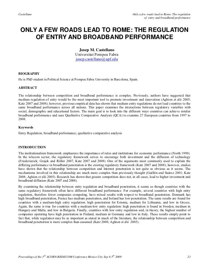 Only a few roads lead to rome the regulation of entry and broadband performance   josep m. castellano (2009)