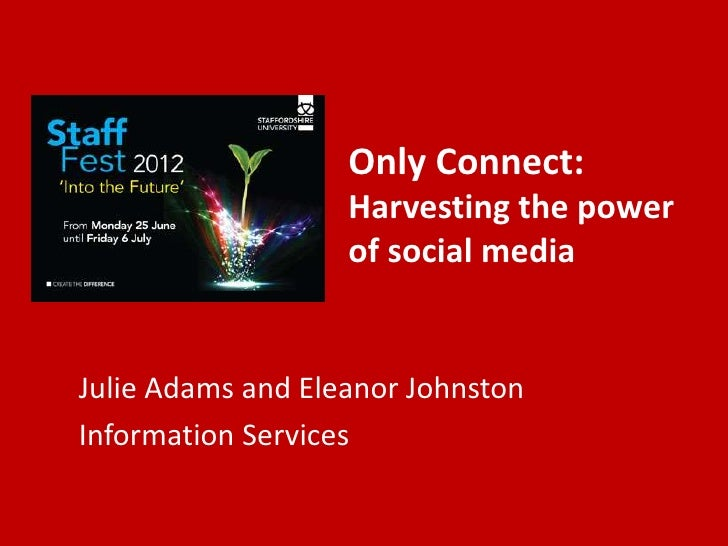 Only Connect:                   Harvesting the power                   of social mediaJulie Adams and Eleanor JohnstonInfo...