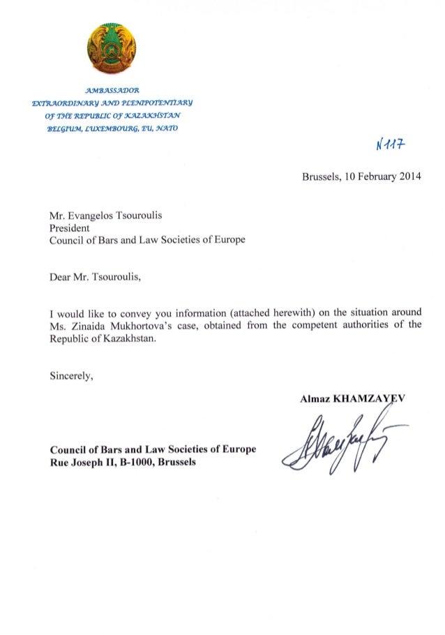Kazakhstan : l'ambassade répond au CCBE sur le cas de Me Mukhortova