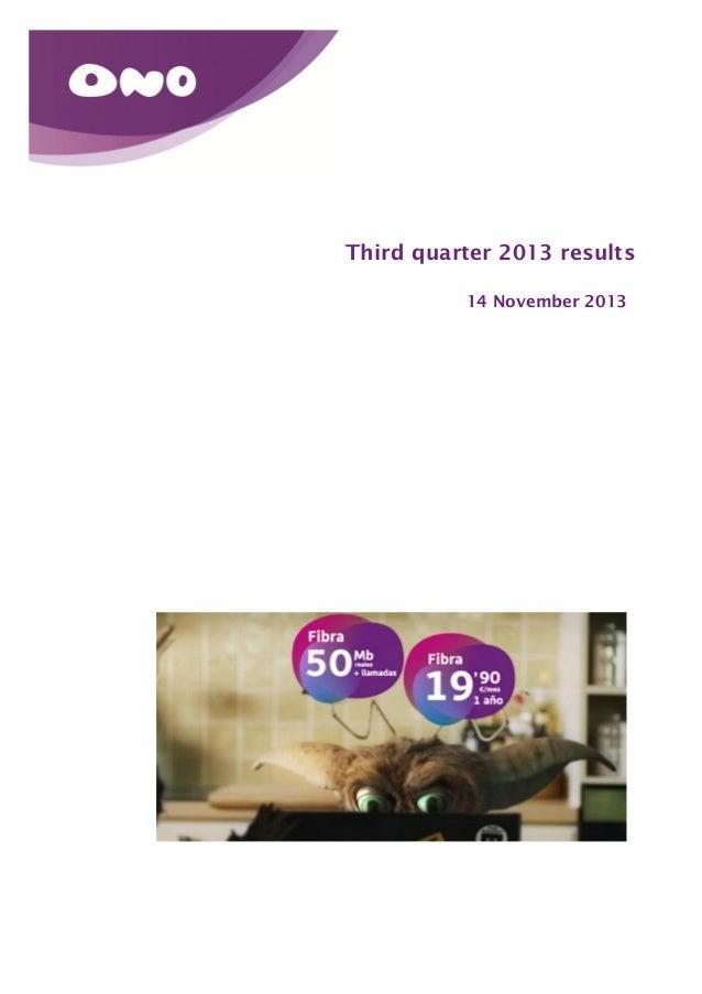 Third quarter 2013 results 14 November 2013