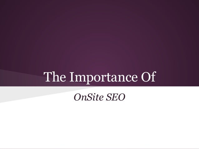 On site optimization