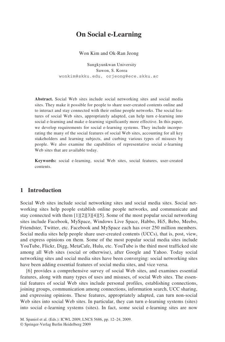 On Social E Learning