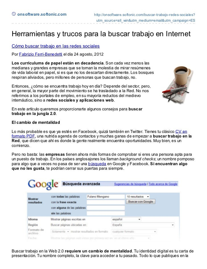 onsoftware.softonic.com                   http://onsoftware.softonic.com/buscar-trabajo-redes-sociales?                   ...