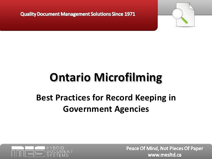Ontario Microfilming:  Best Practices for Record Keeping in Government Agencies