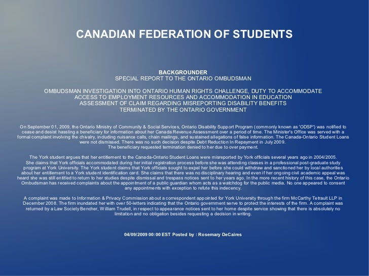 CANADIAN FEDERATION OF STUDENTS                                                                 BACKGROUNDER              ...