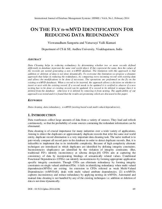 On the fly n w mvd identification for reducing data redundancy