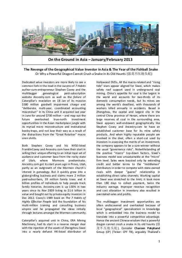 On the Ground in Asia – January/February 2013 The Revenge of the Geographical Value Investor in Asia & The Year of the Fis...