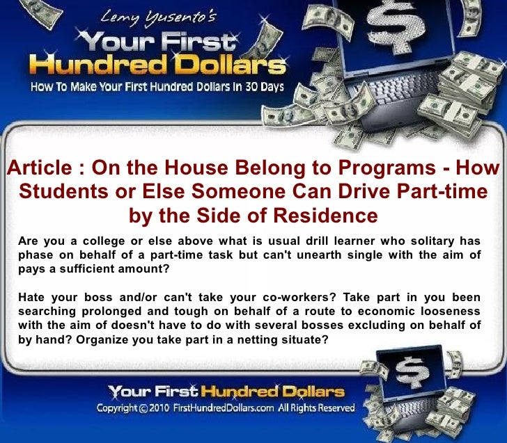 Article : On the House Belong to Programs - How  Students or Else Someone Can Drive Part-time              by the Side of ...