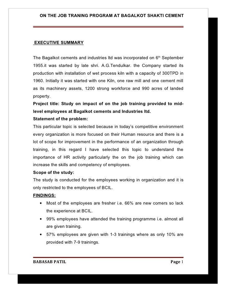 On the job traning program @ bagalkot shakti cement project report mba hr