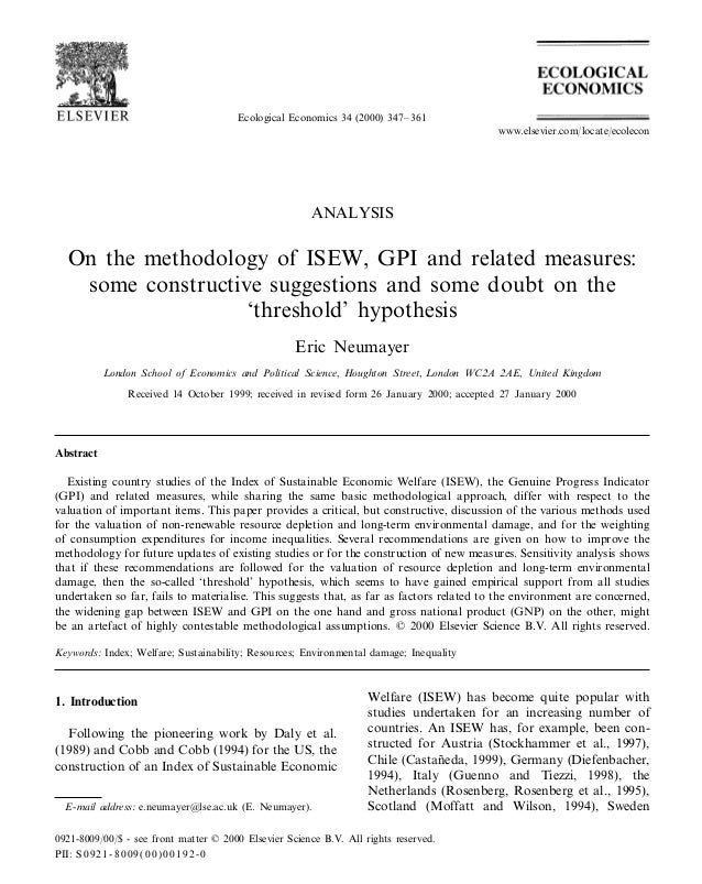 Ecological Economics 34 (2000) 347–361 ANALYSIS On the methodology of ISEW, GPI and related measures: some constructive su...