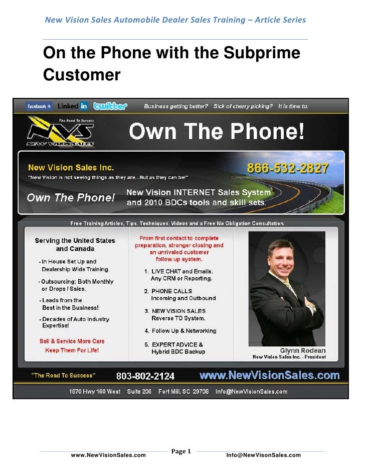 New Vision Sales Automobile Dealer Sales Training – Article SeriesOn the Phone with the Subprime Customer<br />BDR intuiti...