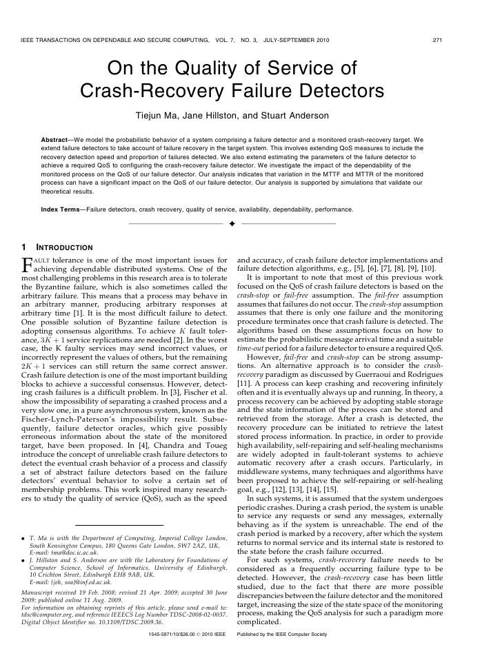 On the quality of service of crash recovery