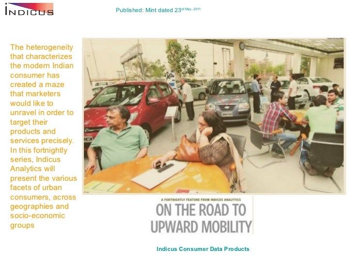 Published: Mint dated 23 rd  May, 2011 Indicus  Consumer Data Products   The heterogeneity that characterizes the modern I...