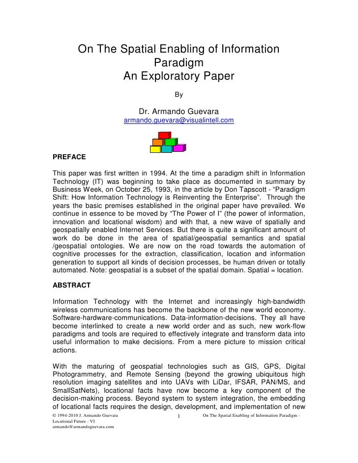 On The Spatial Enabling of Information                        Paradigm                  An Exploratory Paper              ...