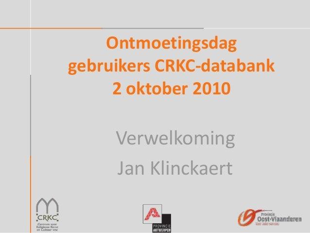 Ontmoetingsdag gebruikers crkc databank