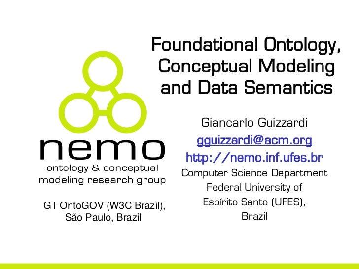 Foundational Ontology,                      Conceptual Modeling                      and Data Semantics                   ...