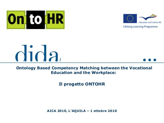 AICA 2010, L'AQUILA – 1 ottobre 2010 Ontology Based Competency Matching between the Vocational Education and the Workplace...