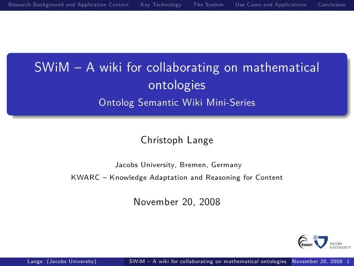 SWiM – A wiki for collaborating on mathematical ontologies