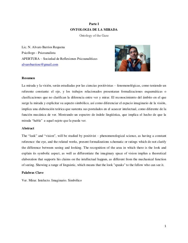 Parte I                                    ONTOLOGIA DE LA MIRADA                                          Ontology of the...