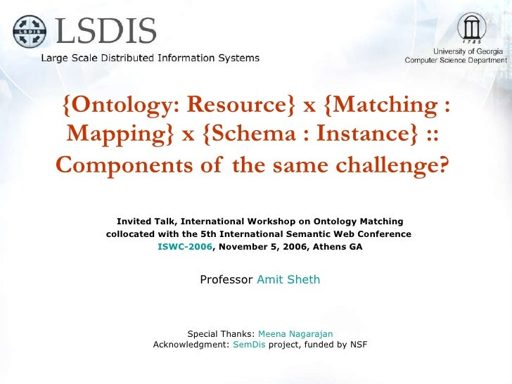 {Ontology: Resource} x {Matching : Mapping} x {Schema : Instance} ::  Components of the same challenge?   Invited Talk, In...