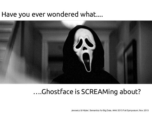 Have you ever wondered what....  ….Ghostface is SCREAMing about? Janowicz & Hitzler; Semantics for Big Data, AAAI 2013 Fal...