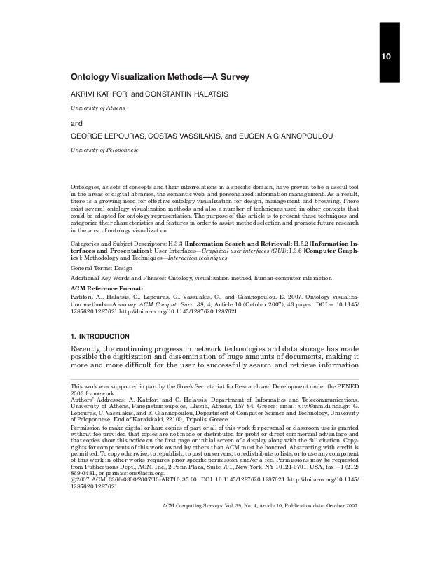 10 Ontology Visualization Methods—A Survey AKRIVI KATIFORI and CONSTANTIN HALATSIS University of Athens  and GEORGE LEPOUR...