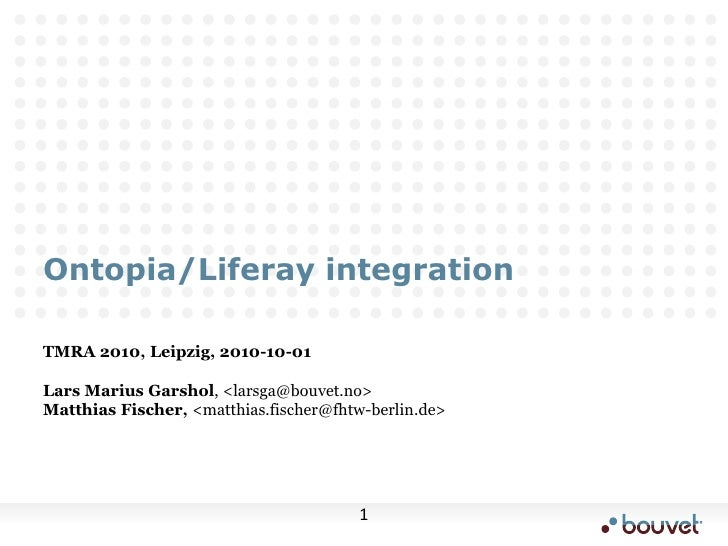 Ontopia/Liferay integration @TMRA 2010