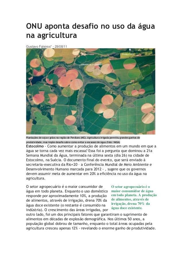 ONU aponta desafio no uso da água na agricultura Gustavo Faleiros* - 29/08/11 Plantações de soja e grãos na região de Perd...