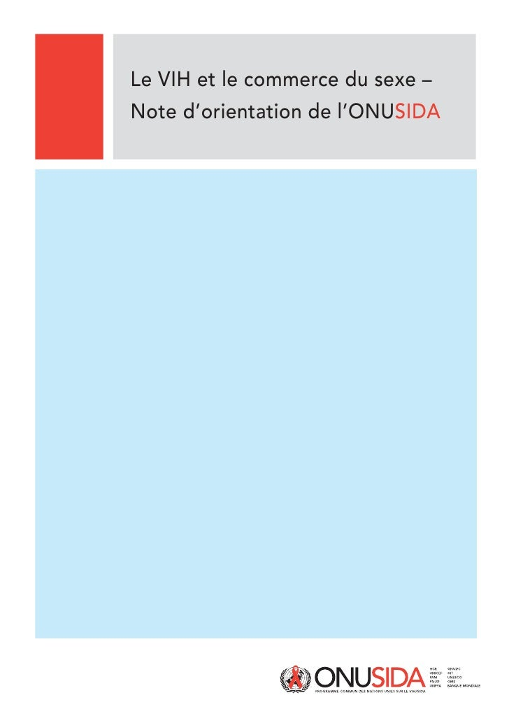 Le VIH et le commerce du sexe – Note d'orientation de l'ONUSIDA