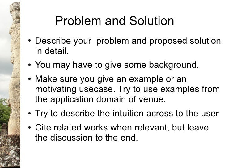 How to write a problem/solve research paper?