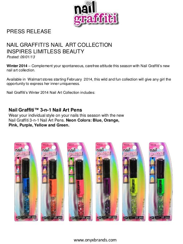 PRESS RELEASE NAIL GRAFFITI'S NAIL ART COLLECTION INSPIRES LIMITLESS BEAUTY Posted: 09/01/13  Winter 2014 – Complement you...