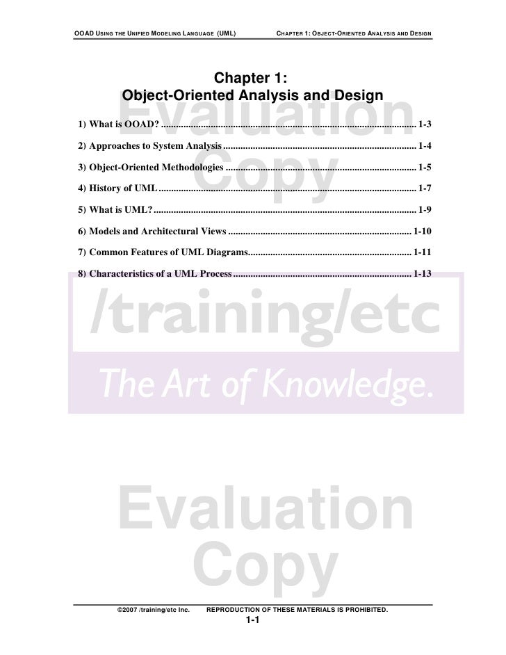 OOAD USING THE UNIFIED MODELING LANGUAGE (UML)                         CHAPTER 1: OBJECT-ORIENTED ANALYSIS AND DESIGN     ...