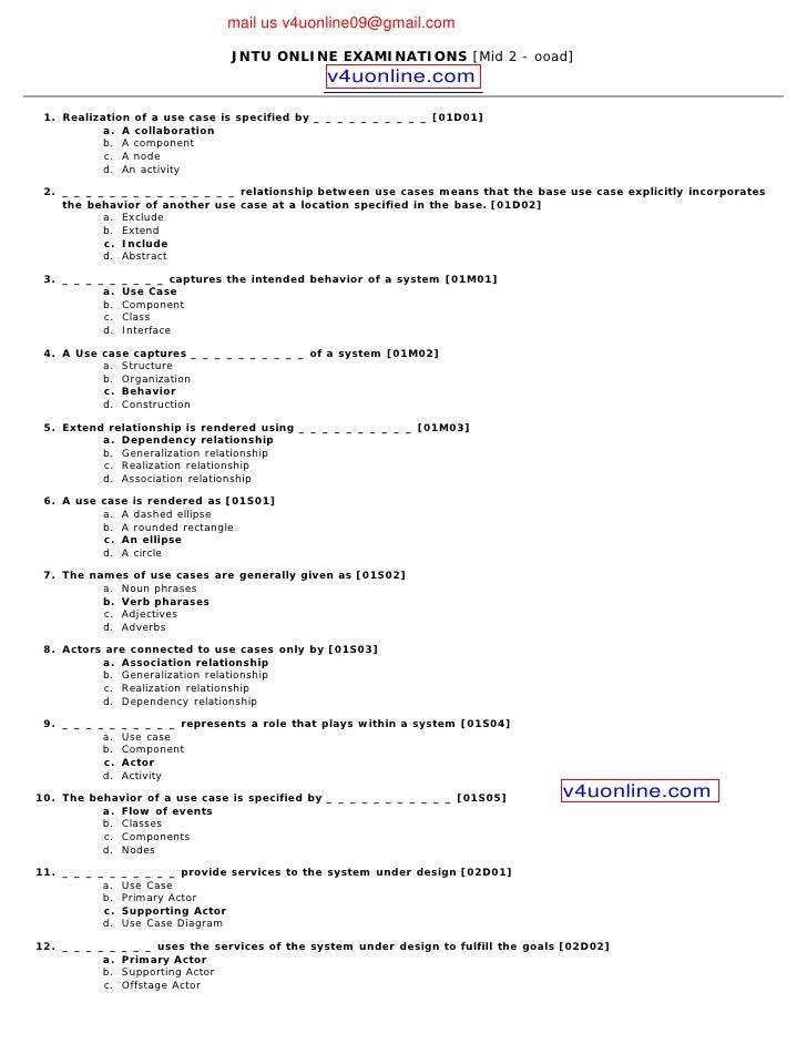 mail us v4uonline09@gmail.com                                   JNTU ONLINE EXAMINATIONS [Mid 2 - ooad]                   ...