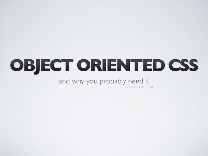 Object Oriented CSS