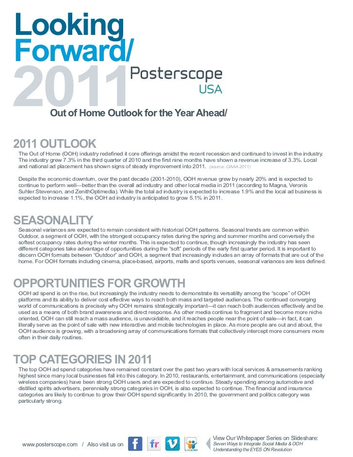 Out of Home Advertising Outlook 2011 Posterscope USA