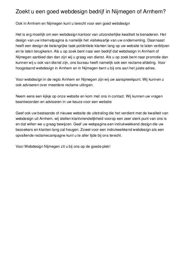 Zoekt u een goed webdesign bedrijf in Nijmegen of Arnhem?Ook in Arnhem en Nijmegen kunt u terecht voor een goed webdesignH...