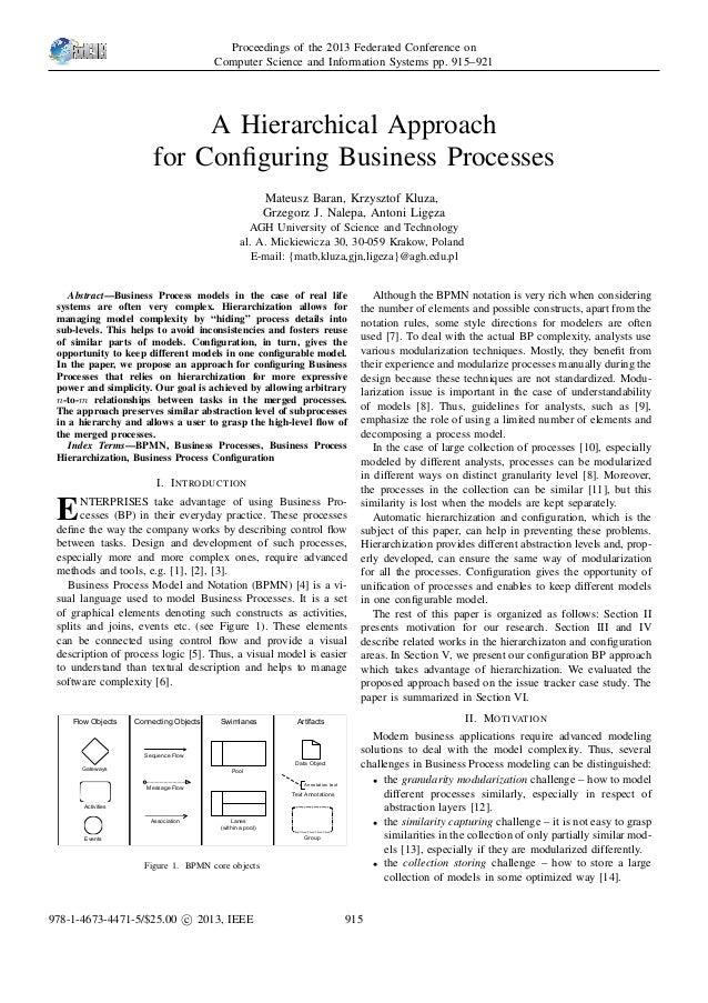 A Hierarchical Approach for Configuring Business Processes Mateusz Baran, Krzysztof Kluza, Grzegorz J. Nalepa, Antoni Lig˛e...