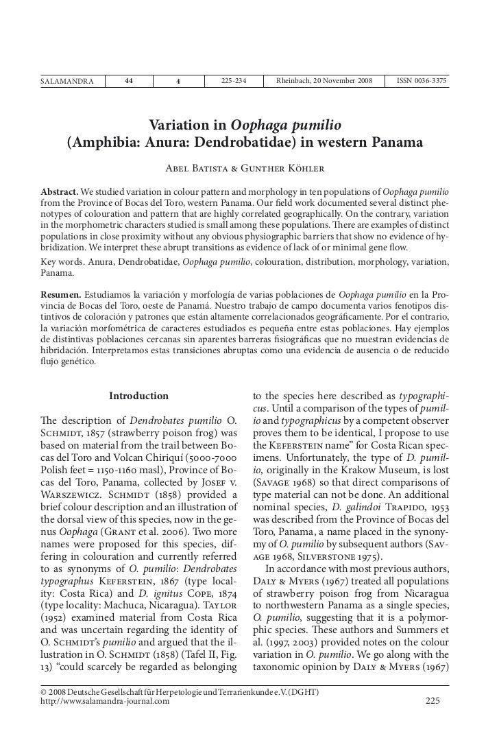 Variation in Oophaga pumilioSALAMANDRA            44             4           225-234        Rheinbach, 20 November 2008   ...