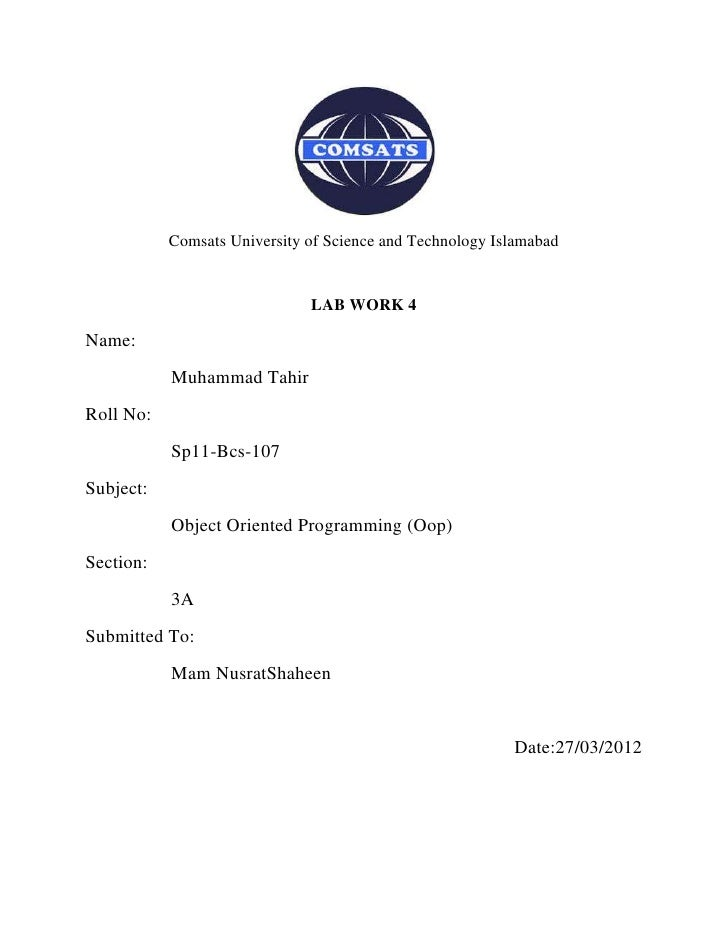 Comsats University of Science and Technology Islamabad                              LAB WORK 4Name:           Muhammad Tah...