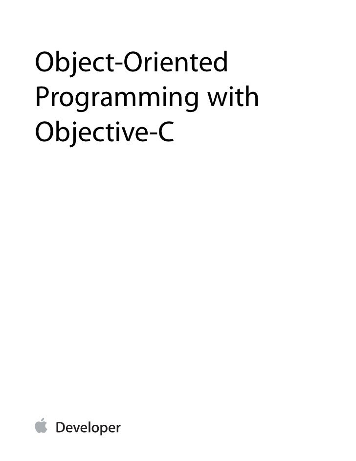 Object-OrientedProgramming withObjective-C