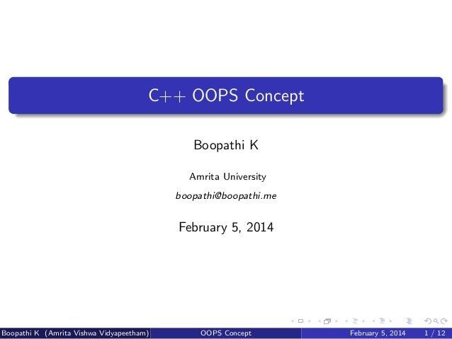 C++ OOPS Concept
