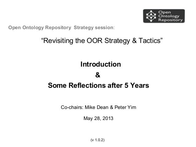 """Open Ontology Repository Strategy session:""""Revisiting the OOR Strategy & Tactics""""Introduction&Some Reflections after 5 Yea..."""