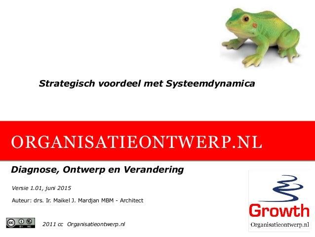 ORGANISATIEONTWERP.NL Diagnose, Ontwerp en Verandering Strategisch voordeel met Systeemdynamica 2011 cc Organisatieontwerp...