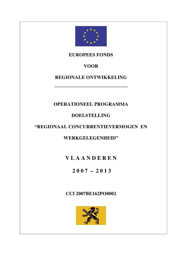 Operationeel Programma Vlaanderen 2007 2013