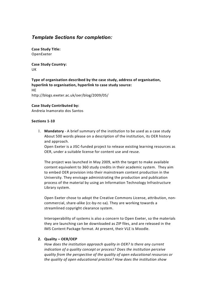 Template Sections for completion:  Case Study Title: OpenExeter  Case Study Country: UK  Type of organisation described by...