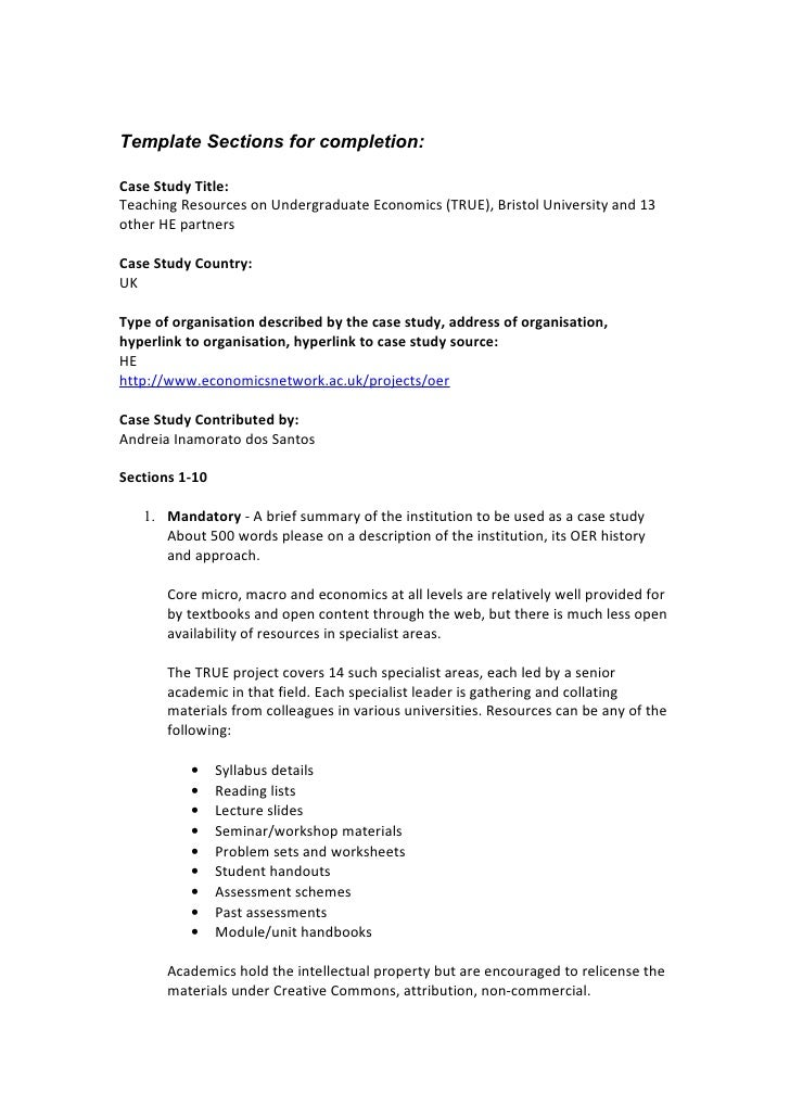 Template Sections for completion:  Case Study Title: Teaching Resources on Undergraduate Economics (TRUE), Bristol Univers...